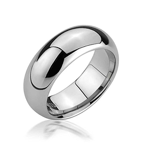 Bling Jewelry Classic Dome Silver Tone Tungsten Wedding Band Mens Women Comfort Fit 6mm -