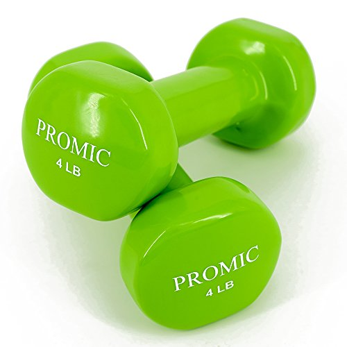 PROMIC Hand Weights Deluxe Vinyl Coated Dumbbells (1lb, 2lb, 3lb, 4lb, 5lb, 6lb, 7lb, 8lb, 9lb, 10lb, 12lb, 15lb, 20lb, Black, Blue, Green, Grey, Orange, Pink, Purple, Red, Yellow), Sold by Pair
