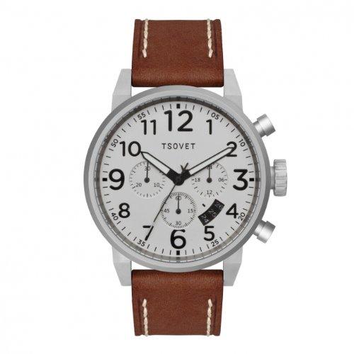 Tsovet Men's Silver w/ White Dial, Brown Leather Band Chronograph Watch JPT-TS44 (TS110111-40)