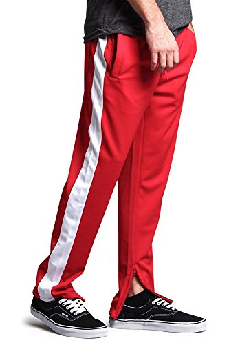 Victorious Men's Side Stripe Ankle Zip Regular Fit Stretch Drawstring Track Pants TR503 - RED/White - Medium - DD5C