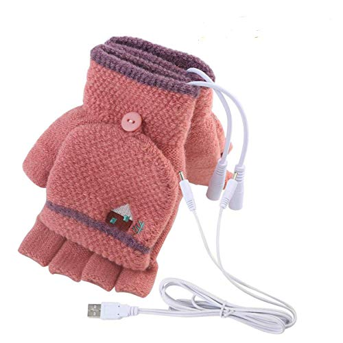 USB Heated Gloves, Mitten Winter Warm Laptop Gloves for Women Men Full & Half Hands Heated Fingerless Heating Knitting Hands Warmer (Women Dark Red)