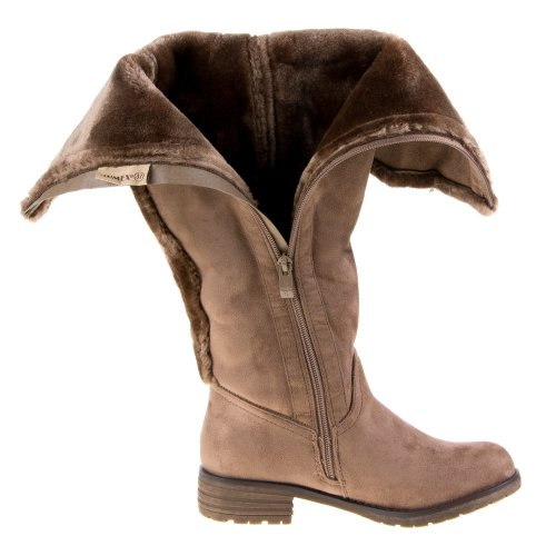 Ital-Design - Botas plisadas mujer Marrón - Brown - Khaki