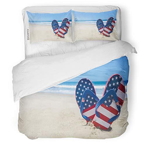 SanChic Duvet Cover Set Blue Patriotic USA Flip Flops Sandy Beach Red Decorative Bedding Set with Pillow Case Twin Size