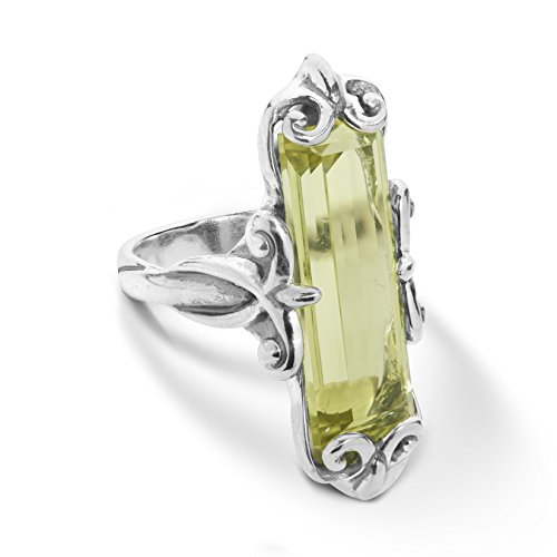 Lemon Ring Sterling Quartz Silver - Carolyn Pollack Sterling Silver Lemon Quartz Gemstone Baguette Ring Size 7