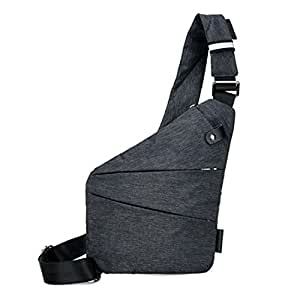 Gaorui Men's Chest Crossbody Bag Outdoor Shoulder Chest Pack Sling Backpack Chest Gym Bag One Size Left