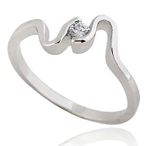 La Vogue para mujer colour plata anillos de cobre 18K - chapado en oro tamaño: diámetro :{9} 59 mm de ancho (Strass): 5 mm