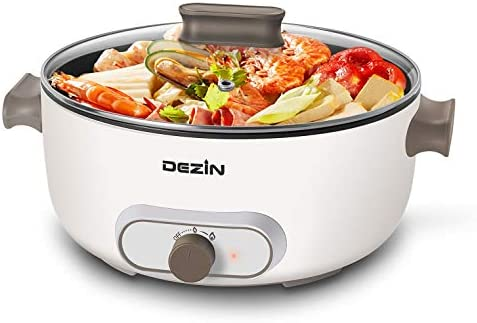 "Dezin Electric Hot Pot, 4L Non-Stick Electric Skillet with Temperature Control, 11.5"" Multifunctional Pot with Overheating Protection for Fry, Sauté, Steam, Simmer, Electric Frying Pan, White"
