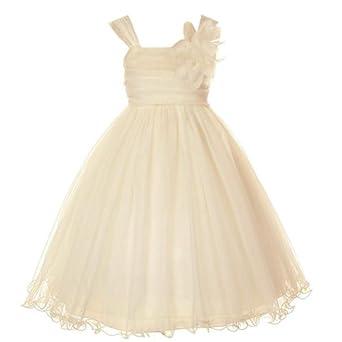 Amazon.com: Kids Dream Champagne Double Layer Flower Girl Dress ...