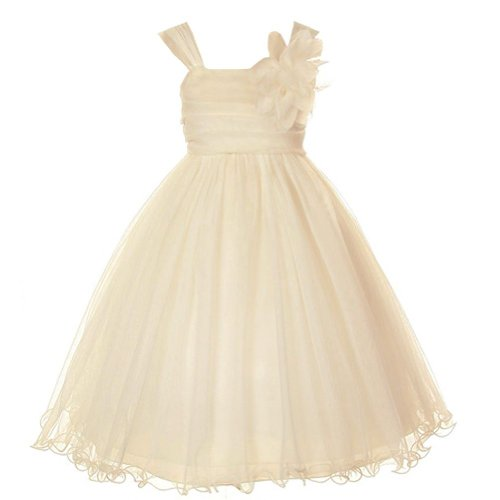 brown and champagne flower girl dresses - 5
