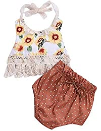 SUPEYA Toddler Baby Girls Floral Tassel Top+Dot Print Shorts Beach Party Outfits