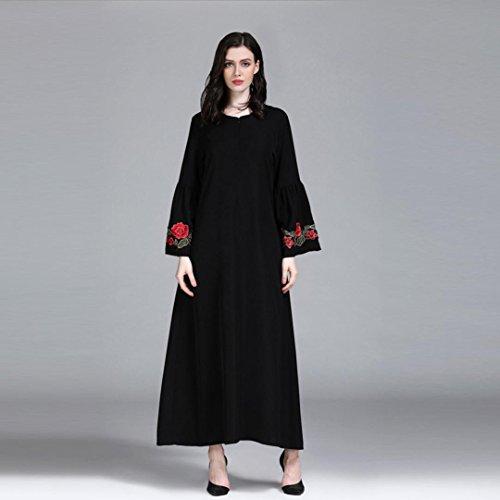 orient Broder Musulmane Élégant Maxi Couleur Moyen Longue Plus Evening Pure Taille Manches Long La Islamique Noir Femmes Chic Party Adeshop Robe Musulmanes Robes Longues 6qFnz
