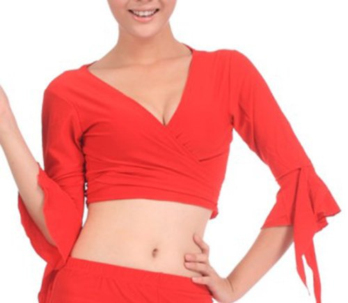 [BellyLady Tribal Belly Dance Yoga Costume Wrap Top, Top For Christmas RED] (Dance Hire Costumes)