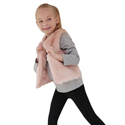 Fullfun 3-8 Years Old Toddler Baby Girl Kid Winter Coat Faux Fur Vest Jacket (4T)]()