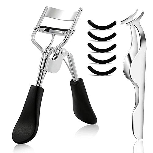 Eyelash Curler Professional Lash Curler with 5 Replacement Silicone Refill Pads and Eyelashes Applicator Tweezer Makeup Curling Tool