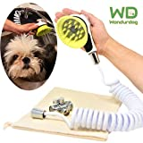 Quality Sink Faucet Pet Wash Kit | Innovative Shower Brush Head w/ Splash Shield | 8 ft Recoil Hose & Metal Faucet Adapter | Kitchen, Bathroom, Utility and Laundry Sink | Fast and Easy Dog Bath System