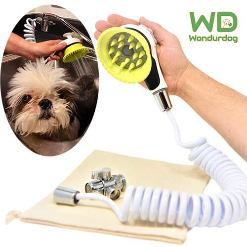 Wondurdog Quality Sink Faucet Pet Wash Kit | Innovative Shower Brush w/Splash Shield | 11 ft Recoil Hose & Metal Faucet Diverter | Kitchen, Bathroom, Utility, Laundry Sink | Faucet Adapters Included