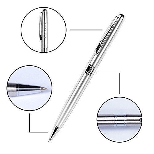 Ballpoint Pens, Cambond Metal Black Ink Stainless Steel Retractable Ballpoint Pen Gift for Valentine Roller Ball Pens Bulk (1.0mm) 3 Pens with 3 Refills (Silver) Photo #2