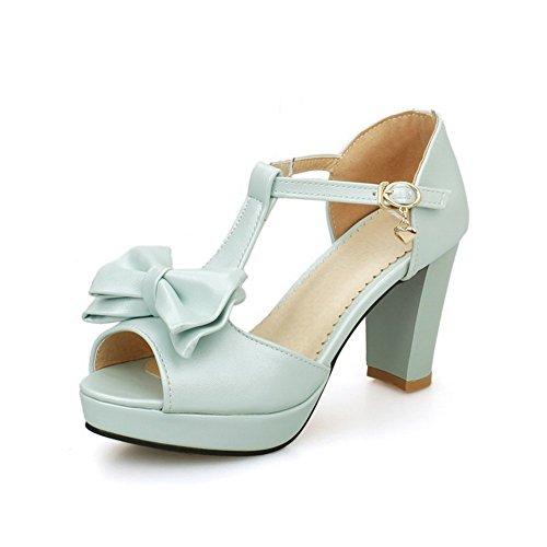 AllhqFashion Women's Pu High Heels Peep Toe Solid Buckle Sandals Blue 0eu7rCyatH