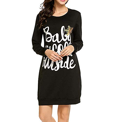 FarJing Womens Dress Ladies Christmas Letter Print Long Sleeve Evening Party Mini Dress(XL,Black