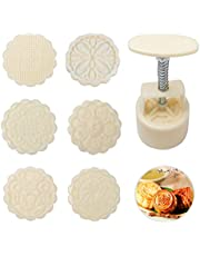 Moon Cake Molds, 1 Set with 6 Stamps Mooncake Mold Press Hand Press Moon Cake Cutter Moon Cake Making Tools for DIY Mooncake