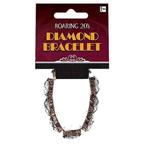 Amscan Glamorous 20's Old Hollywood Themed Party Diamond Bracelet, White, 5 x 2.8