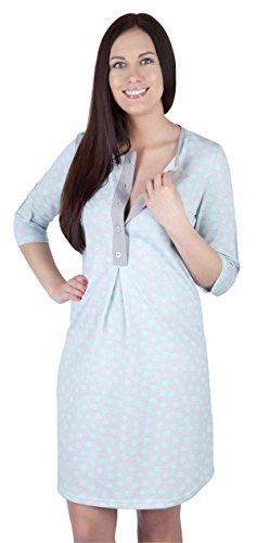 Damen Nachthemd Baumwolle langarm,CRAVOG Umstandsnachthemd Nachtwäsche Hübsches Stillnachthemd Nachthemden für Schwangere