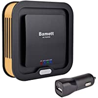Bamett Car Air Purifier Ionic Oxygen Bar Ozone Ionizer Fresh Air Cleaner 3-in-1 True Hepa Air Freshener Filter for Removing Cigarette Smoke,Dust,Pollen and Bad Odors(Black)