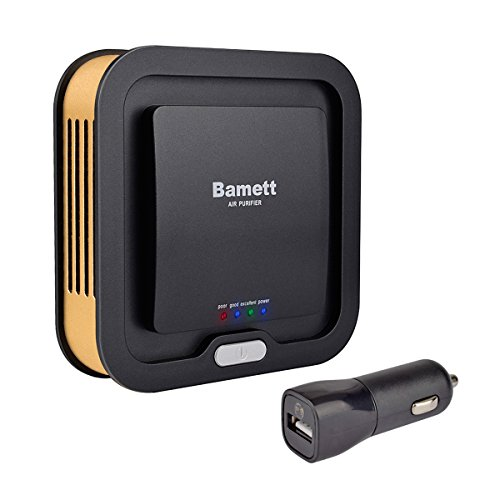 Price comparison product image Bamett Car Air Purifier Ionic Oxygen Bar Ozone Ionizer Fresh Air Cleaner 3-in-1 True Hepa Air Freshener Filter for Removing Cigarette Smoke, Dust, Pollen and Bad Odors(Black)