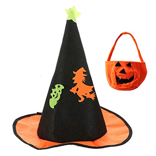 Halloween Party Girls Glitter Witch Hat Masquerade Costume Accessory Costume Performance Cosplay Hat (Pumpkin Hat & Bag) for $<!--$9.59-->