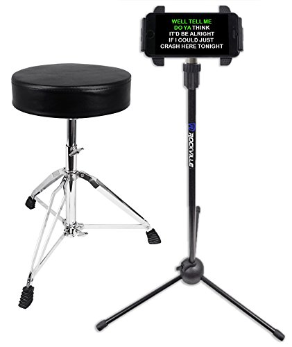 Double Braced Tripod Drum Throne - Rockville RDS30 Thick Padded Adjustable Foldable Drum Throne Stool + lPad Stand