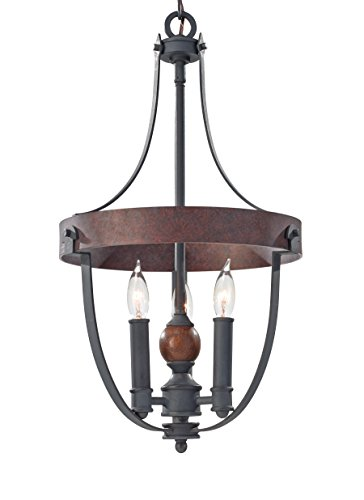 3 Tier 12 Light Pendant - Feiss F2795/3AF/CBA Alston 3 - Light Single Tier Chandelier in AF/CHARCOAL BRICK/ACORN