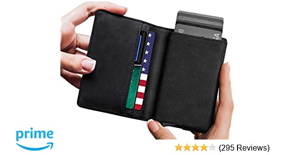 cac396c1e4c Leather RFID Minimalist Wallet - Wallets for Men with Slim Pop-up Card  Holder at Amazon Men s Clothing store