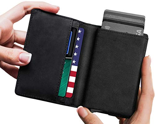 Leather RFID Minimalist Wallet - Wallets for Men with Slim Pop-up Card Holder
