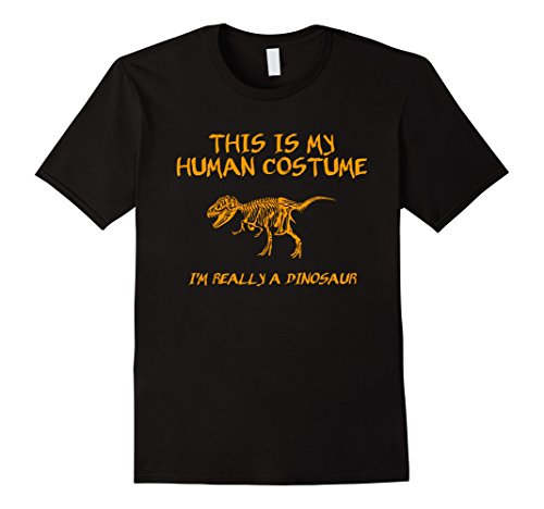 Mens Halloween This Is My Human Costume Dinosaur T-Shirt XL Black