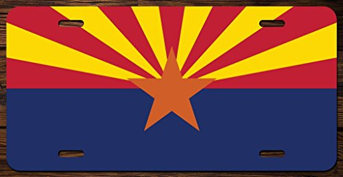 Full Color License Plate - Arizona State Flag Vanity Front License Plate Tag Printed Full Color KCFP002
