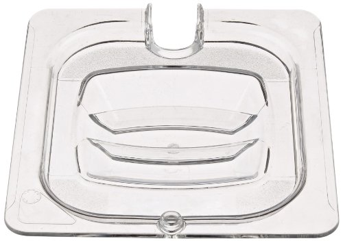 Cold Cover Pan - Rubbermaid Commercial Cold Food Pan Cover with Utensil Notch 1/6 Size, Clear (FG108P86CLR)