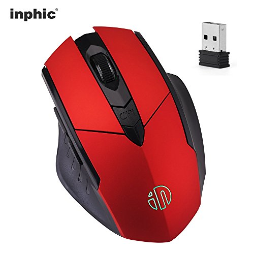 Wireless Mouse, inphic Rechargeable Gaming Mouse with USB Nano Receiver for Notebook, PC, Laptop, Computer, Macbook (Red plating)
