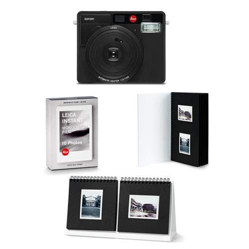 Leica Sofort Instant Camera, Black – Bundle with Sofort Monochrom Film Pack, Sofort Photo Album, Sofort Photo Presenter, Sofort Postcard 3 Pack