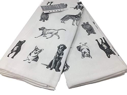Casaba Home Dogs Kitchen Towel Set - Terry Cloth Backed