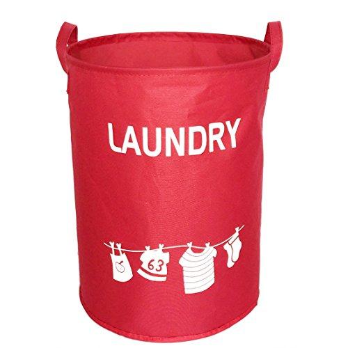 Hoomall Folding Large Round Laundry Hamper Basket Organizer Closet Storage Bin Bag 34x45cm Red