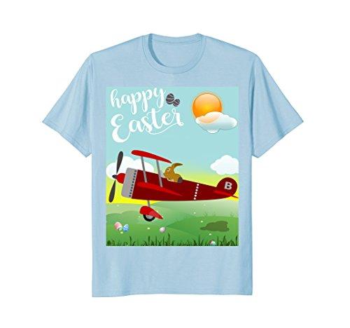 Adorable Happy Easter Bunny Rabbit Pilot plane Girl Boy Tee (Jacket Airplane Yellow)