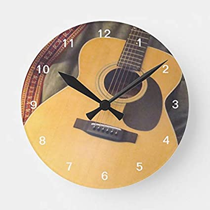 Amazoncom Oswaldo Guitar Clock Decorative Round Wooden Wall Clock
