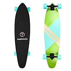 """✔40inch BoardFAMEGLOSS Pintail Longboard with 40"""" Length x 9.75"""" Width Deck and smooth wheels make it easy to ride and turning.Suit for beginner and pro rider.✔7inch matt Coating Truck7"""" Aluminum Casting Trucks with 12mm pe pads, make it easy..."""
