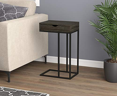 Safdie & Co. 81058.Z.74 Grey Wood Black Metal with Drawer Accent End Table, (C With Drawer Table)