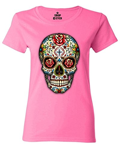 Shop4Ever Skull Red Roses Womens T-Shirt Day of the Dead Shirts