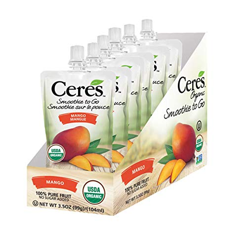 Ceres Organic Smoothies To Go Pouches | 100% Organic Fruit Smoothie Squeeze Packs | No Added Sugar, Non GMO, Gluten Free | 100% Pure Fruit Mango Flavor, 3.5 OZ (Pack of 6) from Ceres