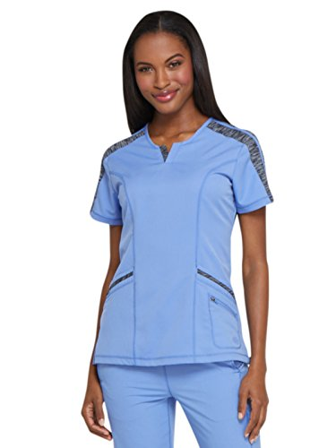 Dickies Dynamix Women's Shaped V-Neck Solid Scrub Top X-Small Ciel Blue