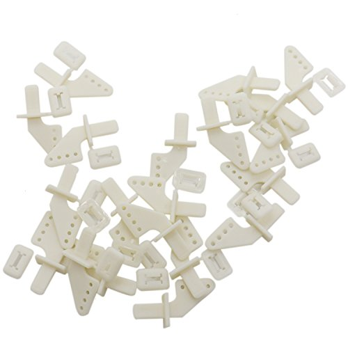HUELE 30pcs Control Horns, White Lock On Plastic Standard Control Horns (4 Holes) for Airplane Parts Remote Control Foam Electric (Remote Control Electric Plane)