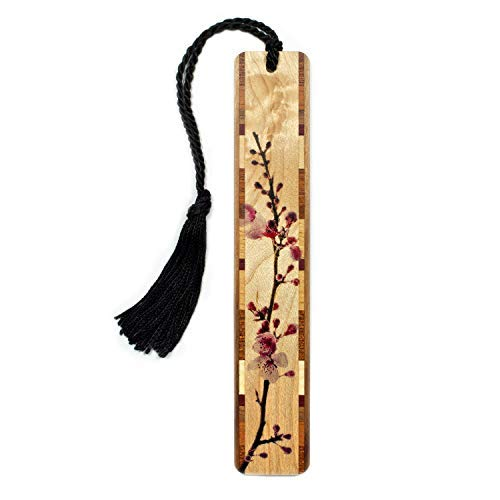 (Cherry Blossom- Branch in Color Wooden Bookmark with Tassel )