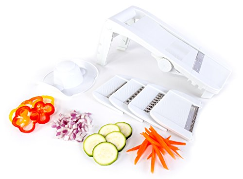 Kitchen + Home Mandoline Slicer - All Purpose 8 in 1 Slicer, Shredder, Grater, Julienne Slicer, Waffle Cutter and Safety (Easy Slicer)